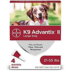 Bayer K9 Advantix II Flea, Tick and Mosquito Prevention for Large Dogs, 21 - 55 lb, 4 doses