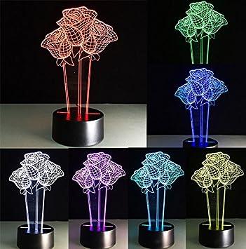 Toys & Hobbies Flash Rose Flower Model 3d Illusion Led Lamp Colourful Change Desk Nightlight Light-up Toys