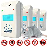 Ultrasonic Pest Repeller Repellent - Indoor Pest Control Devices with Ultrasonic & Electromagnetic Power - Fight against Rats, Mice, Ants, Roaches, Mosquitoes, Insects, Flea, Spiders & More - Set of 4