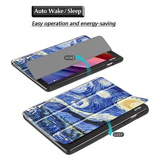 Gzerma Asus ZenPad 10.1 Case with Screen Protector, PU Leather Flip Stand Smart Cover with Auto Wake/Sleep, Ultra Clear Protective Film for Asus ZenPad 10 Z300C Z300CG Z300CL Z300M Tablet, Sky by Gzerma (Image #3)
