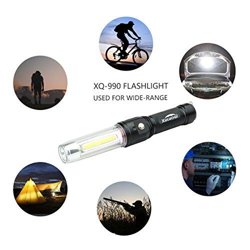XULUOQI Work Light Super Bright LED Flashlight, Multi-function Flashlight 3 in 1 rechargeable Work Light - 900 Lumens Handheld Emergency Light with Magnetic Base Safety Roadside Light Car Maintenance by XULUOQI (Image #5)
