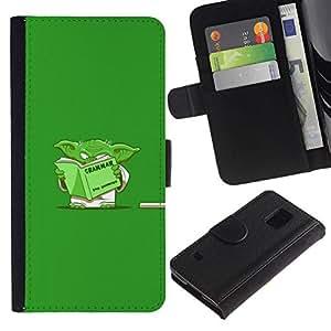 All Phone Most Case / Oferta Especial Cáscara Funda de cuero Monedero Cubierta de proteccion Caso / Wallet Case for Samsung Galaxy S5 V SM-G900 // Funny Grammar Yoda