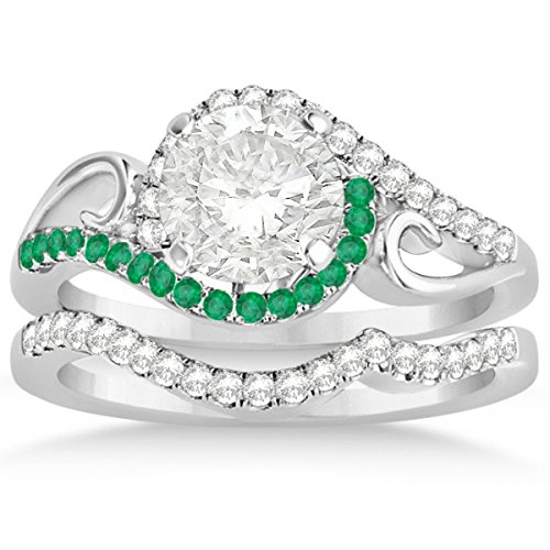 Bypass Halo Diamond and Emerald Engagement Ring Setting and Contour Wedding Band 18k White Gold 0.36ct