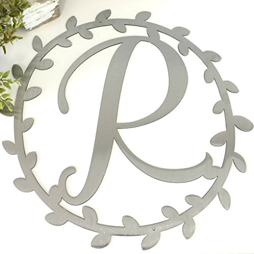 - Metal monogram vine wreath door hanger - farmhouse Wall decor - Customized Gift - Wedding Bridal Shower present