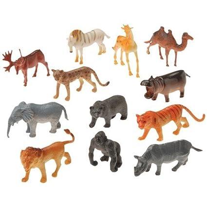 Amazon Com 2 Dozen 24 Mini Plastic Wild Zoo Animal Figures 2 5