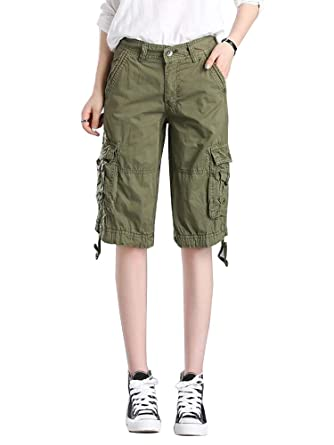 4d35a657ce75 Women's Cotton Casual Loose Fit Twill Bermuda Cargo Shorts with Multi  Pockets Army Green UK 4