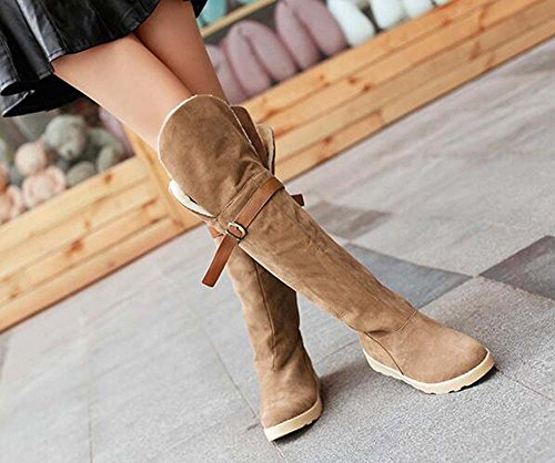 Brown Flats Tall Fur Weather Snow Thick Boots Cold Winter Naughtyangel Women's Faux qPzOI
