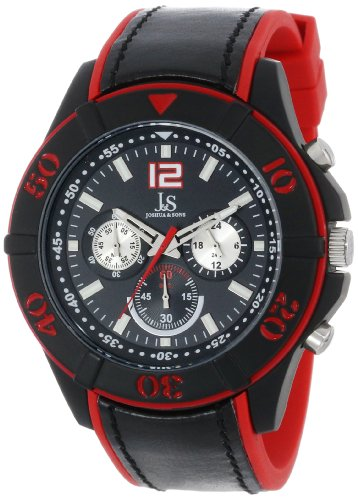 Joshua & Sons Men's JS51RD Chronograph Red-and-Black Watch with Two-Tone Strap