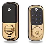 Yale Touchscreen Electronic Deadbolt with Z-Wave, Works with Amazon Alexa via SmartThings or Wink, in Polished Brass (YRD220-ZW-605)