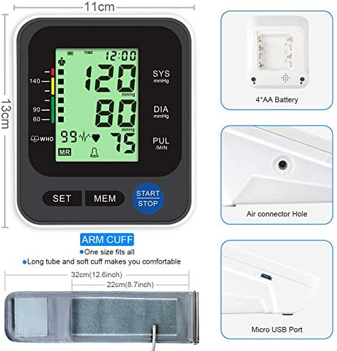 """Blood Pressure Monitor for Home Use with Large 3.5"""" LCD Display, Wowgo Digital Upper Arm Automatic Measure Blood Pressure and Heart Rate Pulse with Wide-Range Cuff,Three-Color Backlight Display 51m4kjF9xtL"""