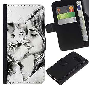 // PHONE CASE GIFT // Moda Estuche Funda de Cuero Billetera Tarjeta de crédito dinero bolsa Cubierta de proteccion Caso Sony Xperia Z3 Compact / Cute Girl & Cat /