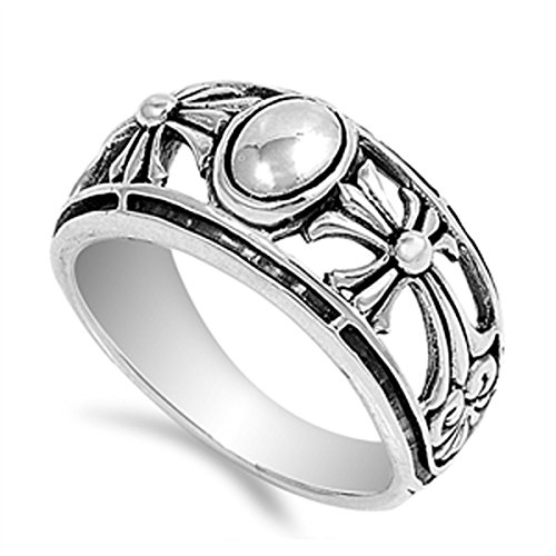 Large Cut Out Cross Ring (Sterling Silver Women's Cutout Cross Ring (Sizes 5-10) (Ring Size 11))