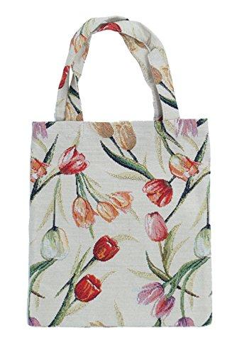 Einkaufstasche Beutel Stofftasche Shopper Bag Tasche Gobelin Royaltex Signare Motiv Tulpen 22 x 26 x 0,5 cm Fa. Bowatex