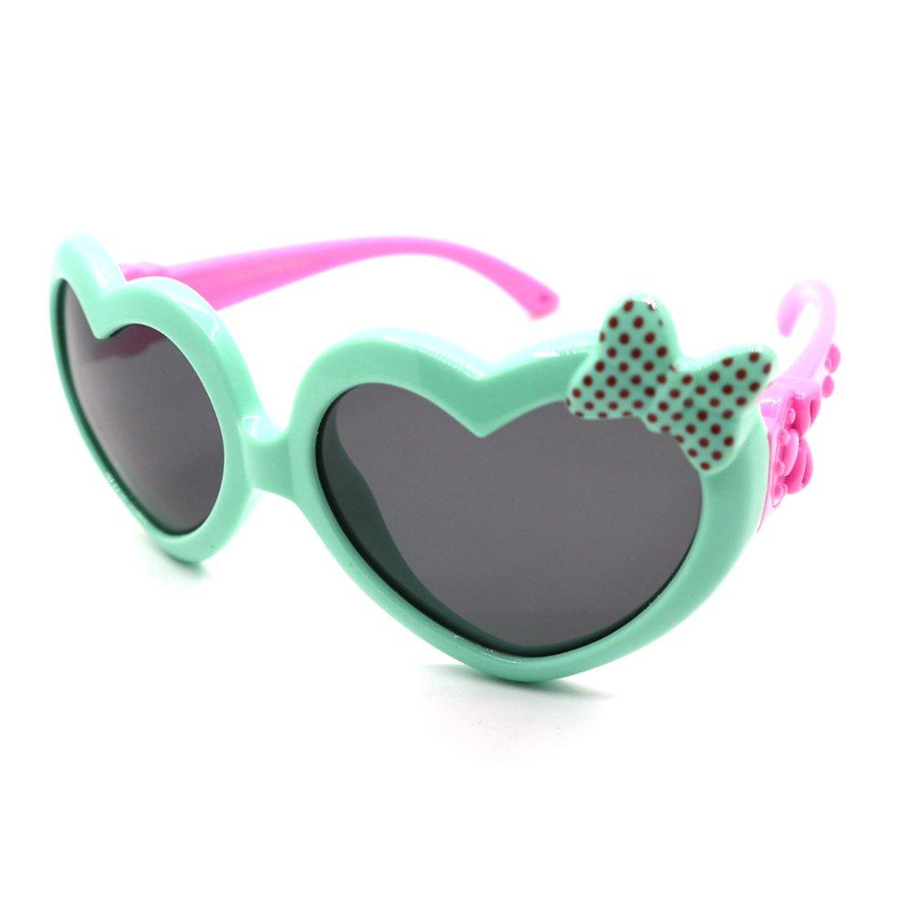 Fantia Kids Sunglasses Flex Rubber Polarized Heart Girls Toddler (D)