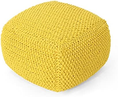 Christopher Knight Home Lucy Knitted Cotton Square Pouf