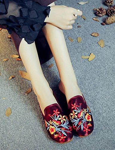 brodées Soie Flor Coins Sauvages Casual Chinois en 0 Pantoufles Chaussures Femmes Fleurs élégantes à Silvestre 5wOfqxF