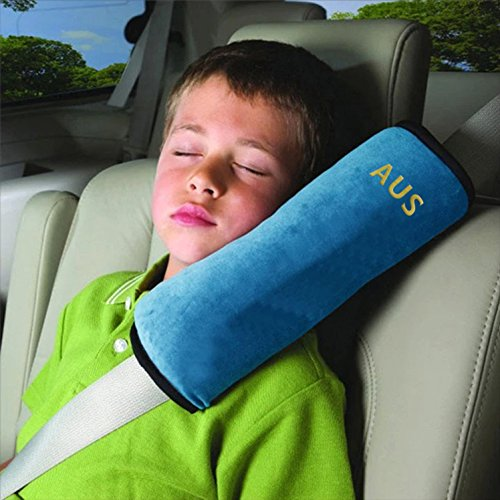 Seat Belt Covers for Kids,Adjust Vehicle Shoulder Pads Pillow,Car Safety Belt Protector Cushion,Plush Soft Auto Seat Belt Strap Pad Cover Headrest Neck Support for Children Baby Adult Seatbelt(Blue)