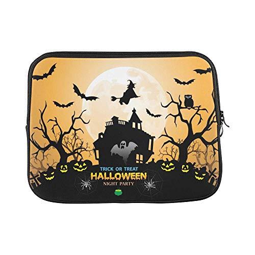 InterestPrint Halloween Night Party Orange Holiday Festival Theme 13 13.3 Inch Waterproof Neoprene Laptop Sleeve Notebook Pocket Case Bag for Women Men
