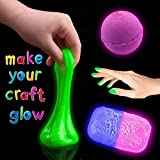 Glow In The Dark Pigment Powder & Crafts Glitter – 10pcs Luminous Color & 2pcs Glitter Set - Safe To Use & Non-Toxic – Ideal For DIY Projects, Slime, Bath bombs, Arts, Crafts