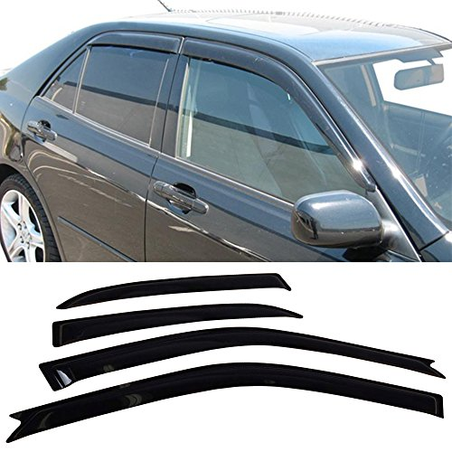 Window Visor Fits 2001-2005 Lexus Is300 4 Door | Slim Style Acrylic Smoke Tinted Sun Rain Wind Guards Shield Vent by IKON MOTORSPORTS | 2002 2003 2004