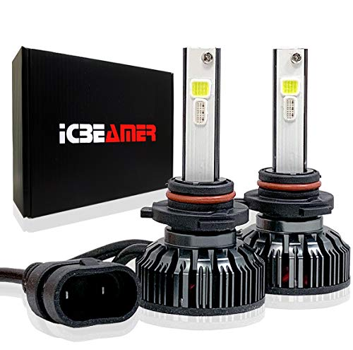 (ICBEAMER 9006 HB4 Canbus 7200lm LED+ RGB Headlight Daytime Running Light Replace Halogen Bulbs Control by Smartphone App)