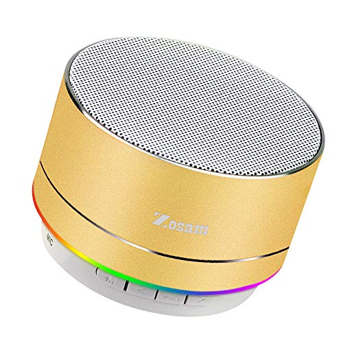 Zosam Mini Wireless Speaker, Portable Bluetooth Speaker with HD Sound, 4H Playing Time, Built-in Mic, SD/TF Card Slot, FM and LED Moodlights for Home, Travel (Gold)