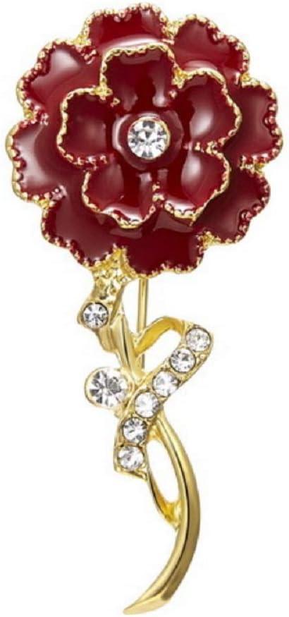 Broche Femme,Cadeaux de f/ête des m/ères,Deesos Broche en alliage de diamant damour de fleur doeillet Meilleurs cadeaux pour la f/ête des m/ères et son anniversaire Rouge