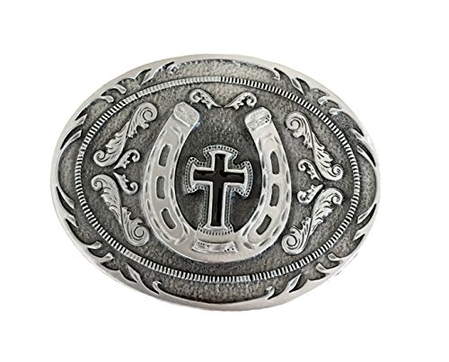 WESTERN STYLE - CROSS n HORSESHOE Belt Buckle from None