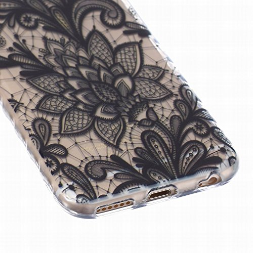 LEMORRY iphone 6 6S (4.7inch) Coque Etui, [Dérapage] Ripple Bord Conception Floral Rose Soft Caoutchouc TPU Silicone Transparent Clear Skin Housse Protecteur