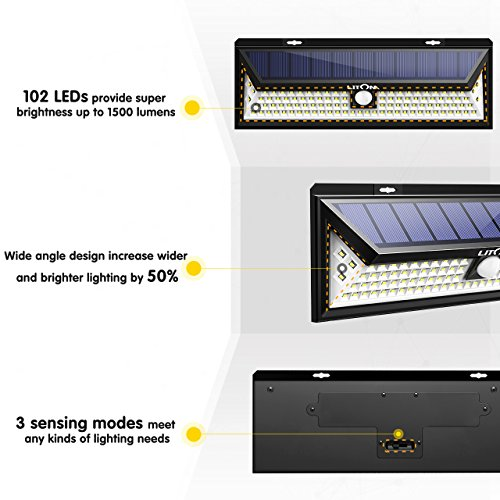LITOM Enhanced 102 LED Super Bright Solar Lights Outdoor, Solar Motion Sensor Lights with 270°Wide Angle, IP65 Waterproof, Easy-to-Install Security Lights for Front Door, Yard, Garage, Deck by Litom (Image #4)