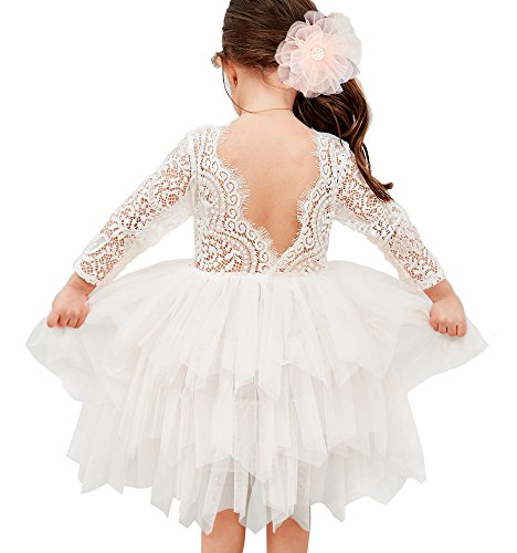 Topmaker Backless A-line Lace Back Flower Girl Dress (6-12 Month, Sleeve-White)