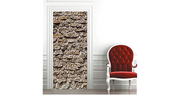 DEENLI Pegatinas Interiores Puerta Puertas, Puerta De Piedra,Pegatinas Autoadhesivas Puertas: Amazon.es: Hogar