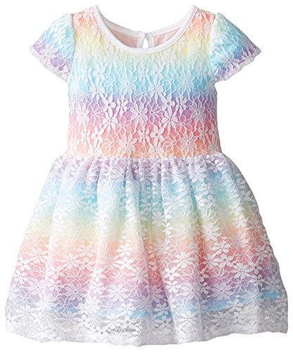 The Children's Place Baby Girls' Short Sleeve Lace Dress, Funfetti Pink, 12 18 Months