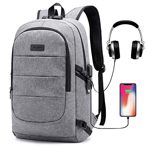 (Laptop Backpack for School Travel, Fits 15.6in Computer Durable Casual Anti Theft Backpack Travel Bag, with USB Charging Port and Headphone Jack, Waterproof Compartment Daypacks)
