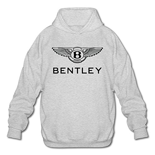 Men's Bentley Logo Long Sleeve Hooded Sweatshirt Large Ash