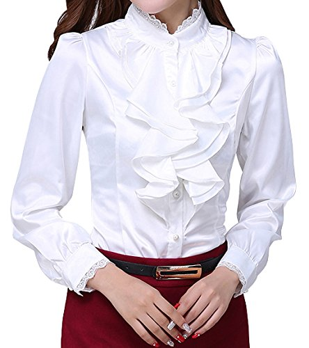 (JHVYF Women's Chiffon Ruffled Long Sleeve Blouse Formal Work Button Down Shirt White US 6(Asian Tag L))