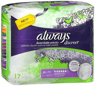 Always Discreet Bladder Protection XL Moderate - 3pks of 17, Pack of 4