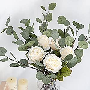 Artificial Greenery Stems 6 Pcs Straight Silver Dollar Eucalyptus Leaf Silk Greenery Bushes Plastic Plants Floral Greenery Stems for Home Party Wedding Decoration 3