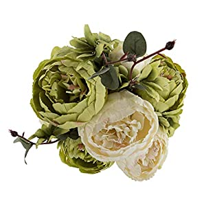 Ezflowery 1 Pack Artificial Peony Silk Flowers Arrangement Bouquet for Wedding Centerpiece Room Party Home Decoration, Elegant Vintage, Perfect for Spring, Summer and Occasions (1, Green)