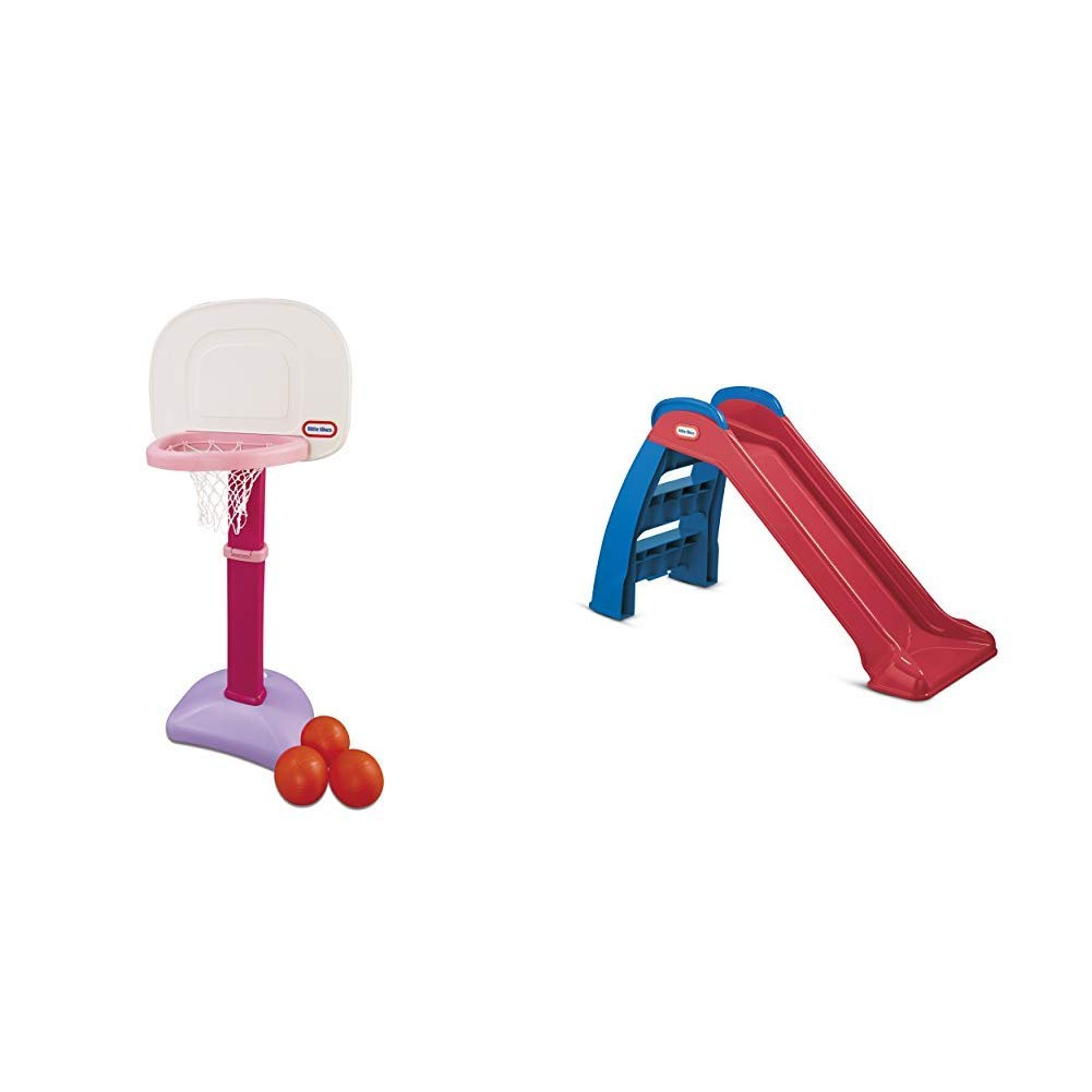 Little Tikes Easy Score Basketball Set (Pink, 3-Balls) and First Slide (Red/Blue) - Bundle by Little Tikes