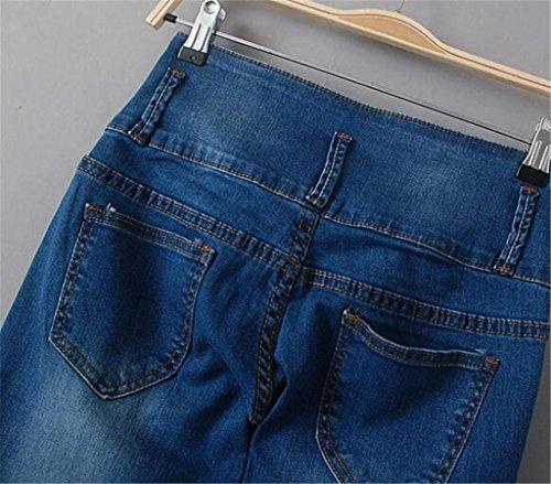 Byjia Bouton Bleu Denim Stretch Jambe Droite Puissance Curvy Couleur Unie Lâche Casual Longue Poche Pantalon Jeans Femmes