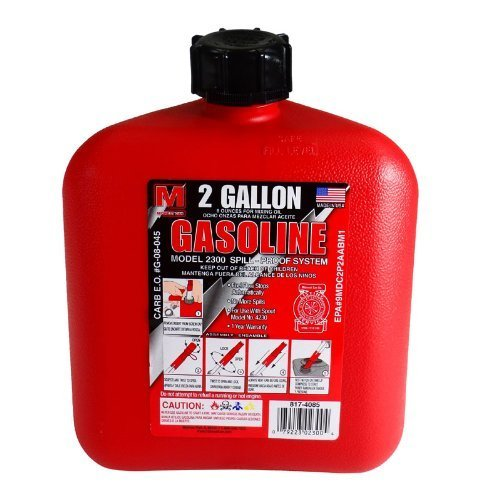 2 Gallon Portable Gas Can Gas Tank with Spill-Proof Spout Design and Locking Cap (EPA and CARB Approved) ()
