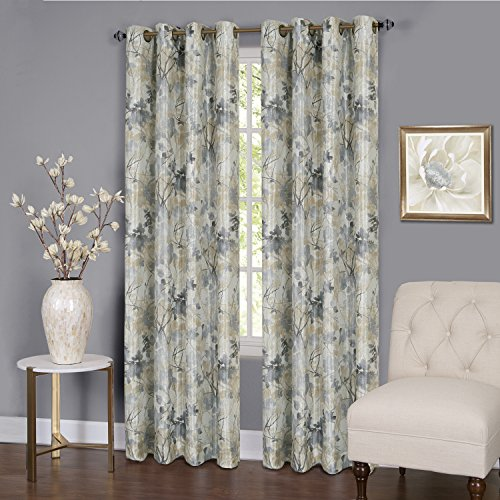 """Serenity Floral Energy Efficient Blackout Curtain Panel (50"""" x 84"""") with 8 Grommets - Silver"""