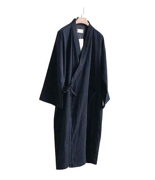 93eee62580 Batas de kimono de algodón para hombres Pijamas de dormir Khan albornoz al  vapor Yukata -