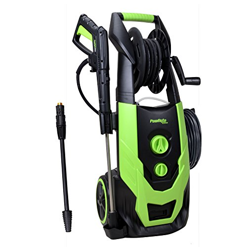 - PowRyte Elite 2400PSI 2.0GPM Electric Pressure Washer with Hose Reel, Adjustable Spray Nozzle, Extra Turbo Nozzle and Induction Motor