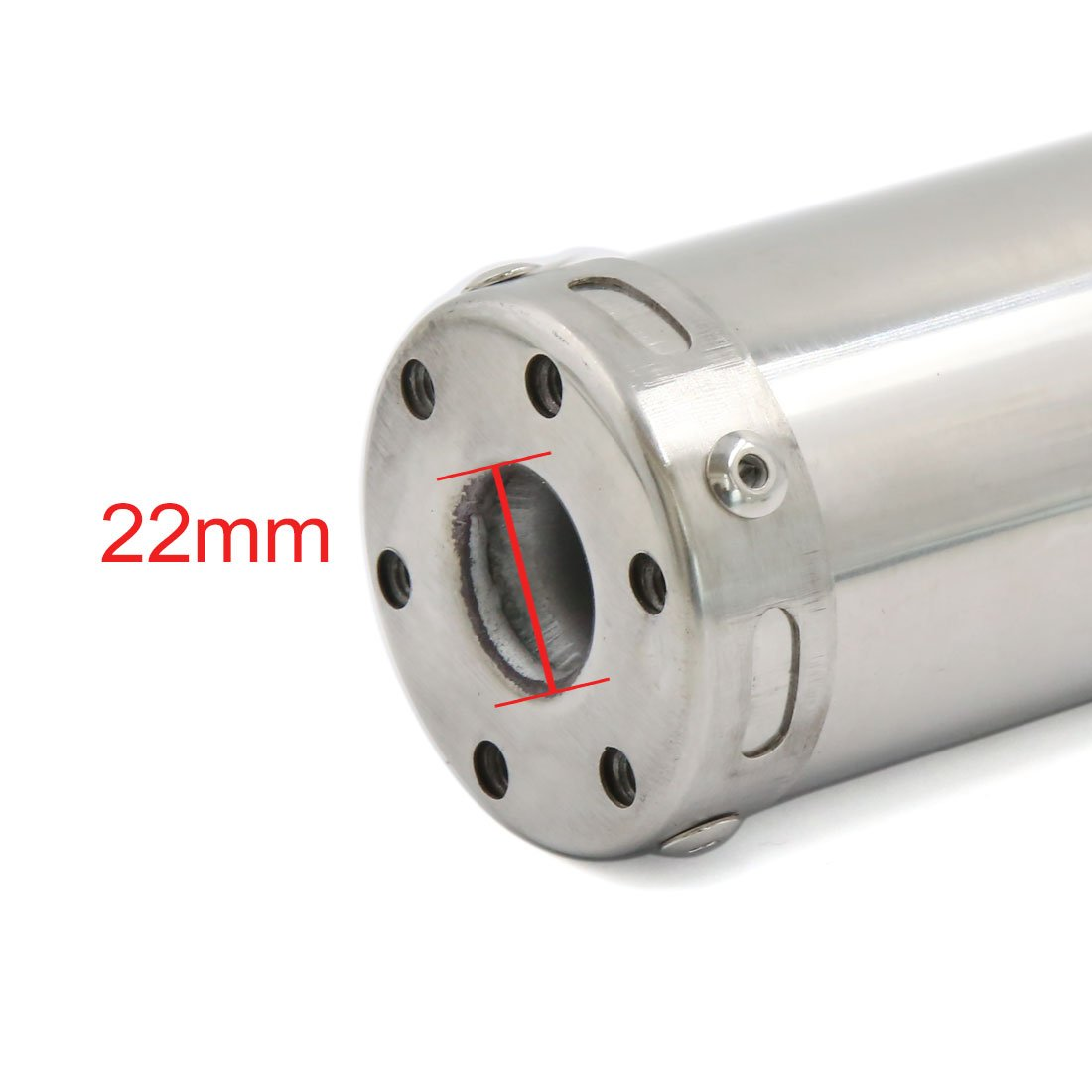sourcingmap Stainless Steel Round Outlet Motorcycle Exhaust Pipe 22mm Inlet