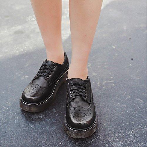 Womens Tillfälligt Arbete Spets-up Klassiska Flerfärgade Läder Vintage Oxford Skor H-4 Brun