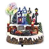 The Christmas Workshop Battery Operated Polyresin Animated Musical LED Village Scene with Moving Train and 8 Christmas Tunes, Resin Multi-Colour