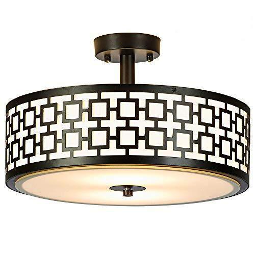 COTULIN 16 Inches Elegant Ceiling Lamp Black Finish Flush Mount Ceiling Light, Ceiling Lamp Fixture For Bedroom Living Room (Mount Flush Finish Black)