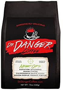 Dr Danger Coffee NIGHT OPS - DECAF Scientifically selected and roasted - whole bean — special reserve - 12oz